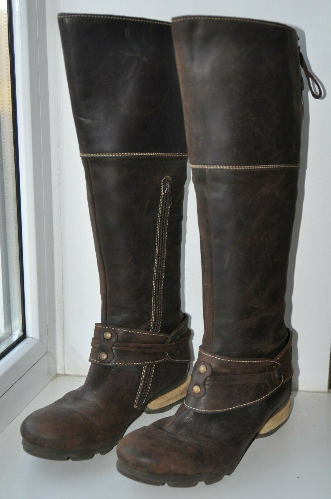 FLY LONDON KNEE HIGH REAL LEATHER braun RIDING Stiefel Größe UK6 EU39