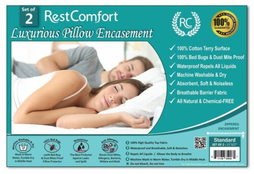 Waterproof Set of 2 Cotton Terry Pillow Protector Bed Bug /& Dust Mite Bacteria