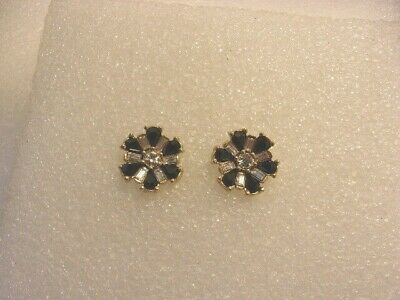 New Old Stock Vintage Clear and Black Rhinestone Dangly Pierced Earrings RS53 NOS