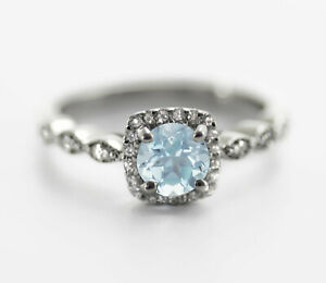 925-Sterling-Silver-Ring-Blue-Aquamarine-Natural-Solitaire-Size-4-11