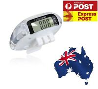 WHITE CRYSTAL LIKE PEDOMETER STEP CALORIE COUNTER with CLIP DISTANCE LCD AU NEW