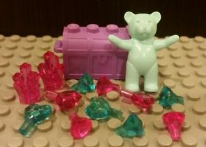 Lego NEW Purple Treasure Chest With 12x Pink/Blue Jewels+Crystal<wbr/>s And Teddy Bear