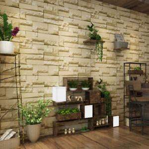 rouleau non tiss stickers mural papier peint 3d brique salon chambre ebay. Black Bedroom Furniture Sets. Home Design Ideas