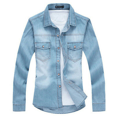 TT200 New Men's fashion Luxury Casual Denim Slim Fit Stylish Jeans Shirts 4 Size