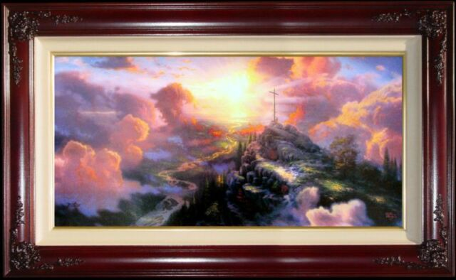 Thomas Kinkade The Cross 12x24 P/P PANORAMIC Framed Limited Edition Jesus Canvas