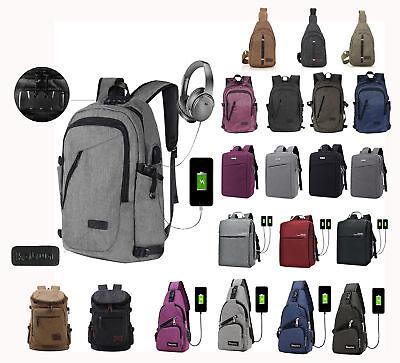 Men Women Anti-Theft Backpack USB Charging Travel School Bag Laptop Rucksack New