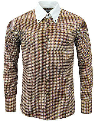 SALE! MENS MOD FLORAL SHIRT RETRO COLLAR English 70s SECONDS Brown 1092 TOP C7