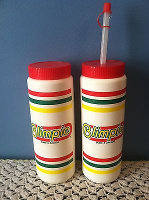 """Vtg 90s BLIMPIE Subs & Salads Plastic Water Bottles 9"""" Promo Advertising"""