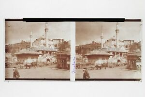 Turkey-Scutari-Mosquee-Big-Large-Guerre-Photo-N2-Plate-Stereo-6x13cm-Vintage