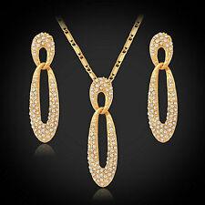 18ct Gold Plated Swarovski Elements Rhinestone Jewellery Set Necklace Earrings