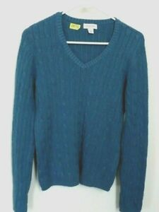 Women-039-s-St-Johns-Bay-Blue-Gray-Cotton-V-Neck-ribbed-Sweater-Size-M-New-L-23-034