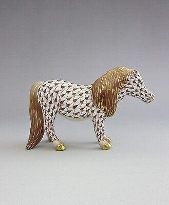 Herend Porcelain Shetland Pony Horse Chocolate Brown Fishnet 15934