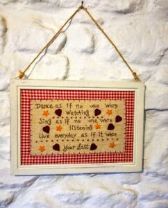 Tapestry-Fabric-Embroidery-Stitch-Framed-Picture-Sampler-Style-Poem-Fair-Trade