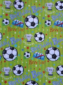 Details About 2 SHEETS OF THICK GLOSSY BOYS CHILDRENS FOOTBALL BIRTHDAY WRAPPING PAPER