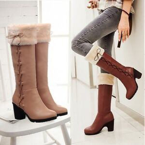 Womens-Mid-Block-Heel-Lace-Up-Winter-Fur-Top-Snow-Knee-High-Boots-Shoes-Plus-Sz
