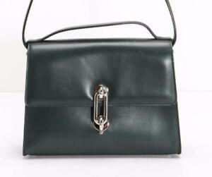 wholesale sales good texture available Details about BALENCIAGA Green Leather Maillon Mini Trapeze Silver-Clasp  Handbag Bag Purse