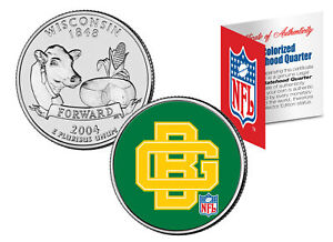 GREEN BAY PACKERS * Retro Logo * Wisconsin Quarter Coin Football NFL LICENSED