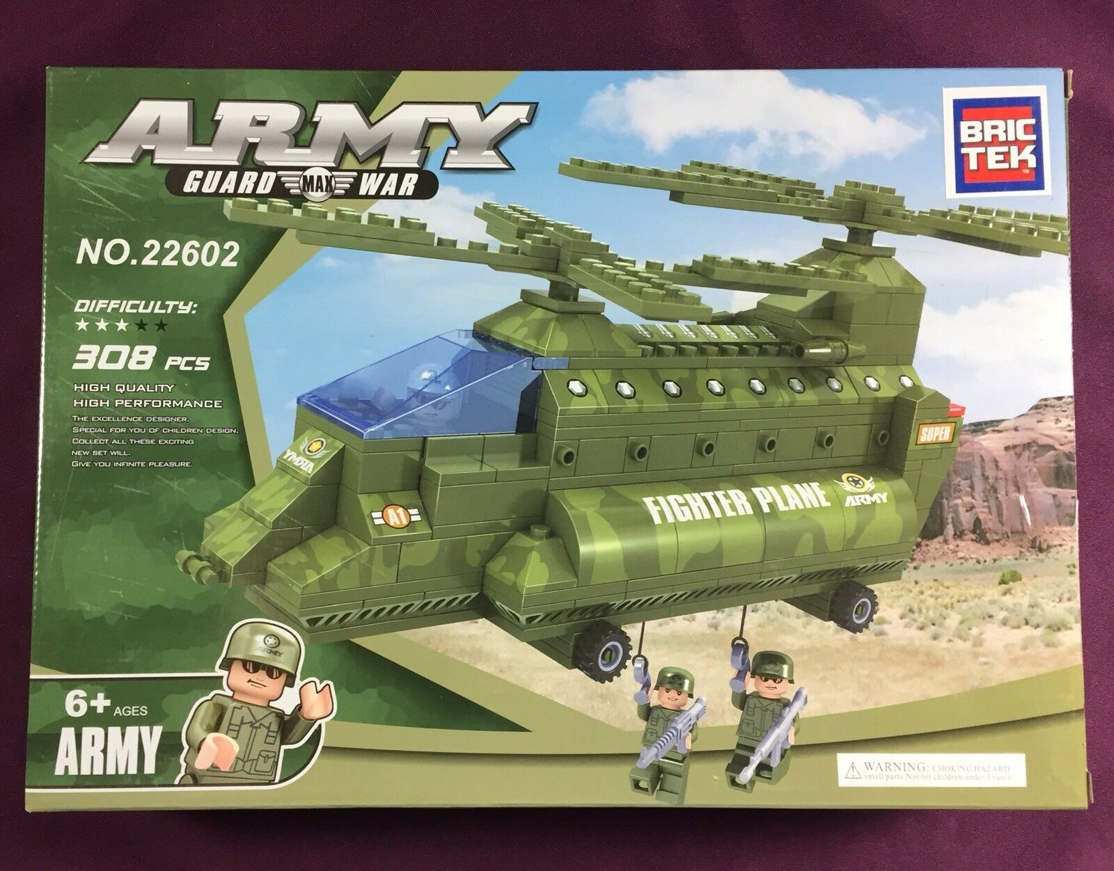 Bric Tek Brictek Army Double Rotor Helicopter 308 Pcs 22602 New Never Built