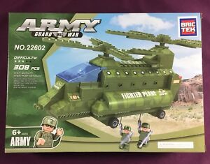 Bric-Tek-Brictek-Army-Double-Rotor-Helicopter-308-Pcs-22602-New-Never-Built