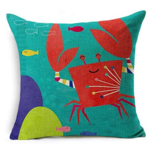"""18/"""" Blue Sea Animal Cotton Linen Sofa Cushion Cover Throw Pillow Case Home Decor"""