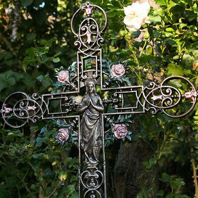 romantisches Kreuz Friedhof Grabschmuck Gartenkreuz