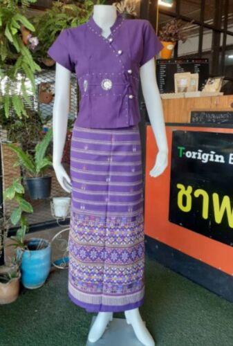 Thai Traditional Shirt Skirt Cotton Sarong BlouseCostume Multi-color Freesizep