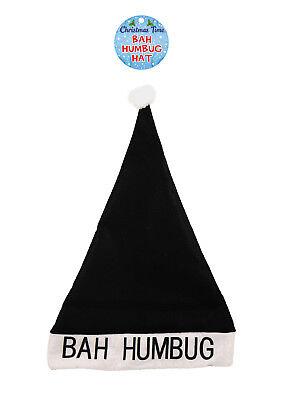 Abile Novità Adulto Bah Humbug Nero Cappelli Di Babbo Natale Festa Ufficio Da Uomo Costume-mostra Il Titolo Originale Elaborato Finemente