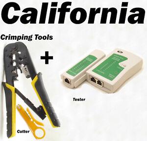 RJ45 RJ11 CAT5 Network Tool Kit Cable Tester Crimp Crimper LAN Wire Stripper USA