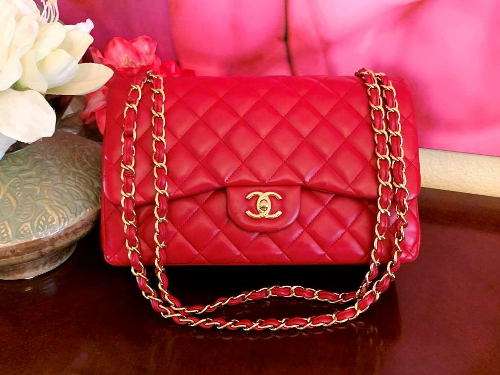 Authentic Chanel Classic Jumbo Red Lambskin Doubl… - image 12