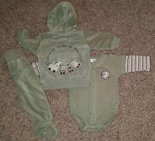 H&M Baby Boys Train Choo-Choo Outfit 3pc Set Jacket Bodysuit Pants Lot Sz 2-4 mo