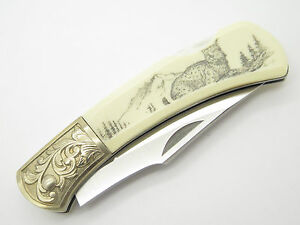 Details about GUTMANN EXPLORER G SAKAI SEKI JAPAN FOLDING LOCKBACK POCKET  KNIFE SCRIMSHAW LYNX