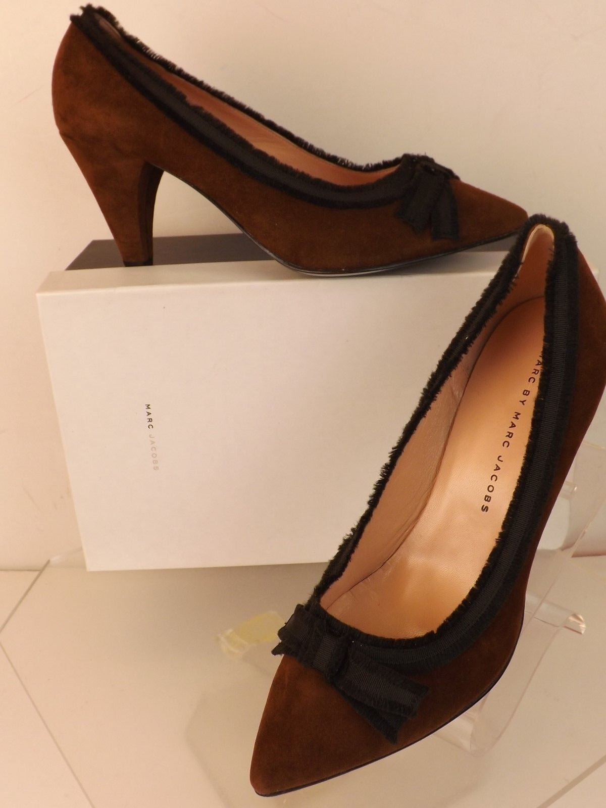 NIB MARC BY MARC JACOBS marron SUEDE GROSGRAIN BOW POINTY TOE PUMPS 37.5
