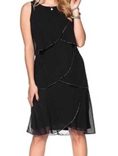 NEU Cocktailkleid Abendkleid Ballkleid Kleid schwarz Perlenstickerei 48 XL
