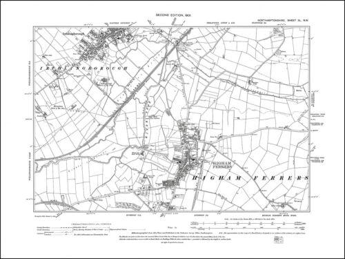 old map Northants 1901 40NW repro Irthlingborough Higham Ferrers