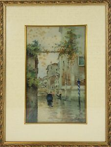 B3-073. LANDSCAPE OF VENICE. WATERCOLOR ON PAPER. FRATTERING.TWENTIETH CENTURY.