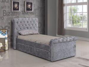 3ft Silver Crushed Velvet Trundle Bed