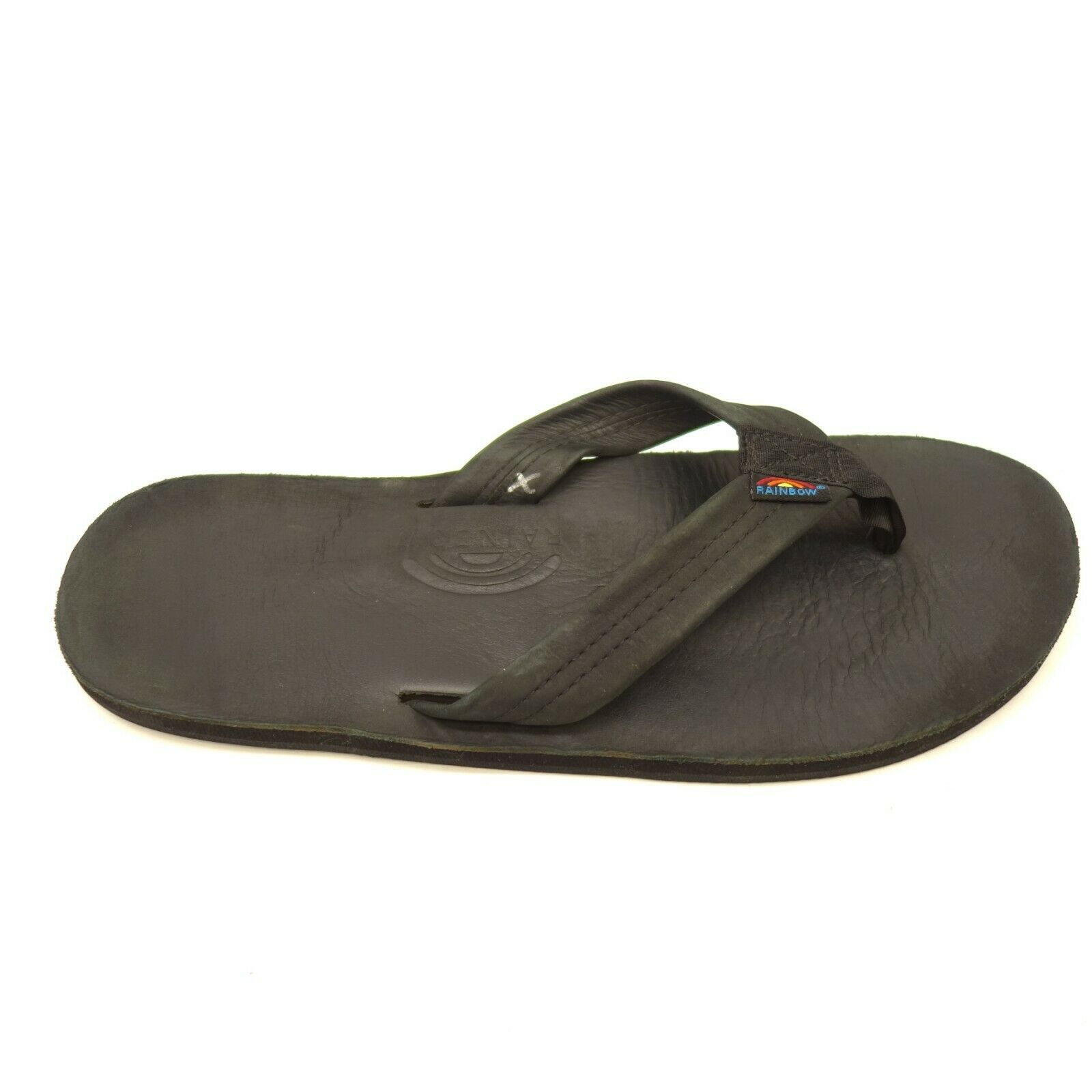 Rainbow Strap Premier Leather Mens US 11-12 Single Layer Arch Flip Flop Sandals