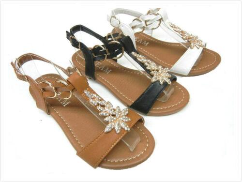 Brand New Women/'s T-Strap Rhinestone Sandals Size 5 ~ 10