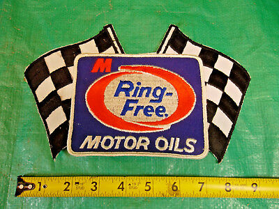 Large Embroidered Checkered Flag Ring-Free Vintage MacMillan Oil Sew-on Patch