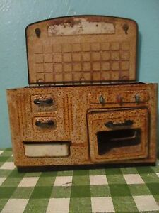 vintage tin oven for doll house