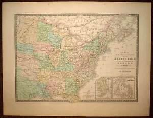 Carte Usa Canada Cote Est.Cote Est Des Etats Unis Et Canada Carte Geographique Ancienne
