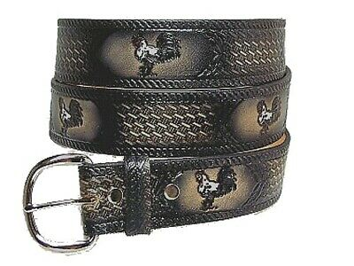 Rooster Cock Fighting Gallus Hen Leather Belt W Buckle USA