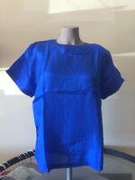 Pxl Petite 100% Silk Blue Blouse Short Sleeve Top Ladies Jewel Neck