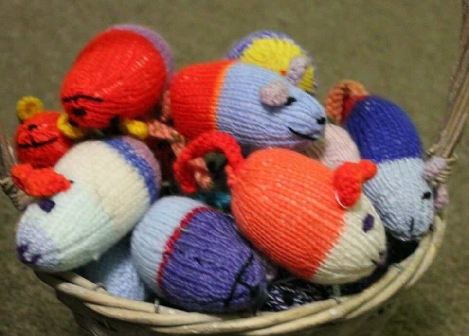 30 Hand knitted Mice Party Bags Job lot, bulk buy, whole class