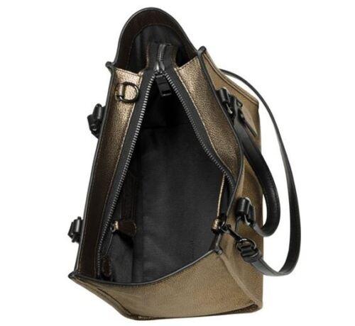 Nwt 33848 Coach Brass Mini Crossbody In Vapor Black Carryall Metallic Leather H9WED2IY