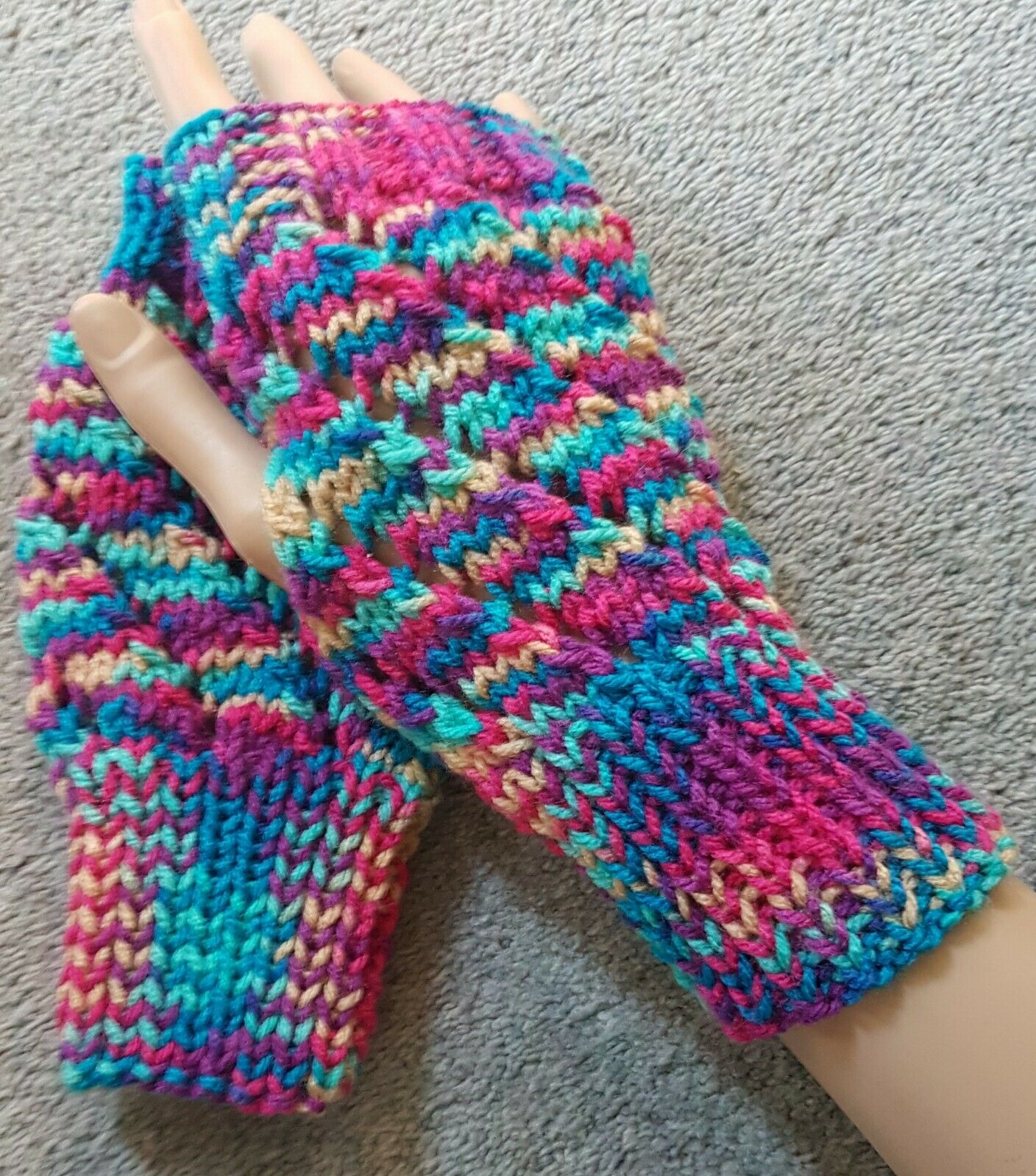New Hand Knitted Lace Effect Fingerless Gloves/ Wrist Warmers in Bright Colours
