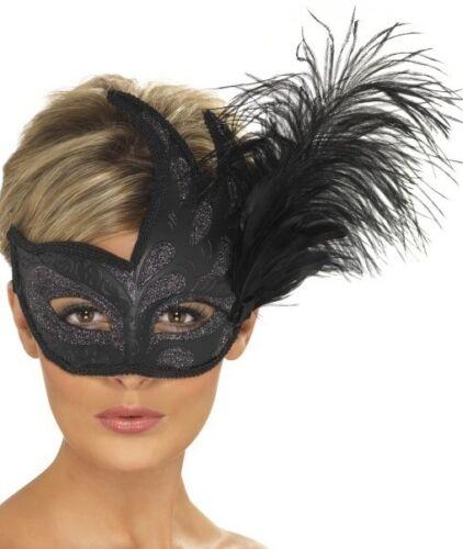Masquerade sfera Costume Occhi Maschera Prom Maschera Occhi Nera COLOMBINA Nuovo Da Smiffys