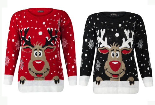 WOMENS PLUS SIZE KNITTED RUDOLPH REINDEER JUMPER XMAS CHRISTMAS NOVELTY SWEATER