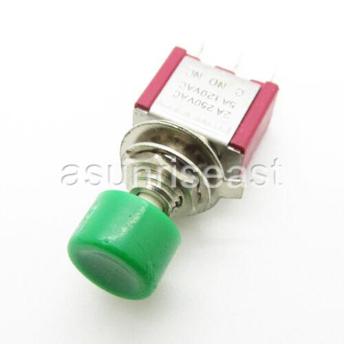 50 x Mini Momentané cliquez sur le bouton vert bouton-poussoir simple pole Double Throw No-COM-NC Wholesale