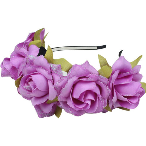 EG/_ Glitter Petals Cloth Flower Hair Hoop Garland Headband Bridal Wedding Decor
